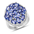 3.87CTW Genuine Tanzanite .925 Sterling Silver Ring