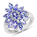 3.39CTW Genuine Tanzanite & White Zircon .925 Sterling Silver Ring