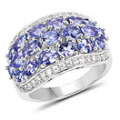 3.35CTW Genuine Tanzanite & White Zircon .925 Sterling Silver Ring