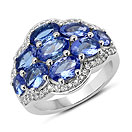 4.08CTW Genuine Tanzanite & White Zircon .925 Sterling Silver Ring