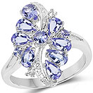 """1.89CTW Genuine Tanzanite, Tanzanite & White Topaz .925 Sterling Silver Ring"""