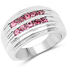 1.00CTW Genuine Pink Tourmaline .925 Sterling Silver Cluster Ring