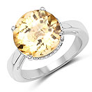 5.56CTW Genuine Citrine .925 Sterling Silver Solitaire Ring
