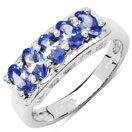 1.25CTW Genuine Tanzanite .925 Sterling Silver 5 Stone Ring
