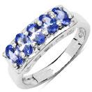 1.25CTW Genuine Tanzanite .925 Sterling Silver 5 Stone Ring