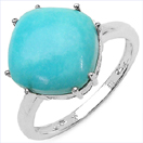 5.65CTW Genuine Turquoise .925 Sterling Silver Ring