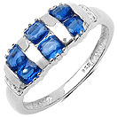 1.63CTW Genuine Kyanite & White Diamond .925 Sterling Silver Ring