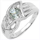 0.60CTW Genuine Aquamarine .925 Sterling Silver Ring