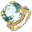12.98CTW Blue Topaz & White Topaz .925 Sterling Silver Gold Plated Ring