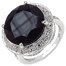 7.01CTW Genuine Black Onyx & White Topaz .925 Sterling Silver Ring