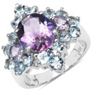 4.92CTW Genuine Amethyst & Blue Topaz .925 Sterling Silver Ring