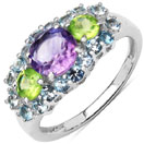 """2.53CTW Genuine Amethyst, Peridot & Blue Topaz .925 Sterling Silver Ring"""