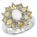 8.03CTW Genuine Opal & Citrine .925 Sterling Silver Ring