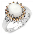 2.45CTW Genuine Opal & Citrine .925 Sterling Silver Ring