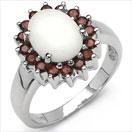 2.45CTW Genuine Opal & Garnet .925 Sterling Silver Ring