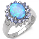 2.55CTW Genuine Opal(Blue Triplet) & Tanzanite .925 Sterling Silver Ring