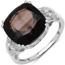 6.25CTW Genuine Smoky Topaz & White Diamond .925 Sterling Silver Solitaire Ring