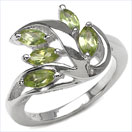 1.25CTW Genuine Peridot Marquise .925 Sterling Silver Ring