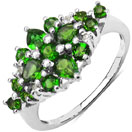 1.36CTW Genuine Chrome Diopside & White Topaz .925 Sterling Silver Cluster Ring