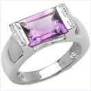 3.00CTW Genuine Amethyst .925 Sterling Silver Ring