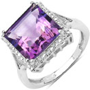 4.35CTW Genuine Amethyst .925 Sterling Silver Solitaire Ring