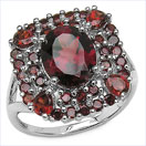 """4.68CTW Oval, Round & Pear Shaped Garnet .925 Sterling Silver Ring"""
