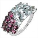 5.13CTW Genuine Rhodolite & Blue Topaz .925 Sterling Silver Ring