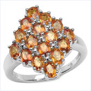 2.92CTW Oval Orange Sapphire .925 Sterling Silver Ring