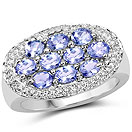 1.70CTW Tanzanite .925 Sterling Silver Ring