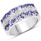 2.06CTW Tanzanite & White Topaz .925 Sterling Silver Ring