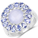 8.10CTW Genuine Blue Chalcedony & Tanzanite .925 Sterling Silver Cocktail Ring