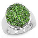 2.85CTW Genuine Chrome Diopside .925 Sterling Silver Ring