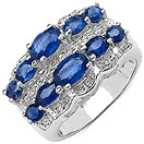 2.90CTW Genuine Blue Sapphire & White Topaz .925 Sterling Silver Ring