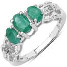 1.00CTW Genuine Emerald & White Diamond .925 Sterling Silver 3 Stone Ring