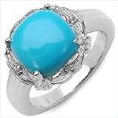 3.31CTW Turquoise & White Topaz .925 Sterling Silver Ring