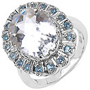 5.72CTW Genuine White Crystal & Blue Topaz .925 Sterling Silver Ring