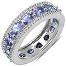 2.65CTW Genuine Tanzanite .925 Sterling Silver Ring