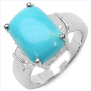 4.57CTW Genuine Turquoise .925 Sterling Silver Ring