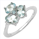 1.23CTW Genuine Aquamarine & Blue Topaz .925 Sterling Silver Ring