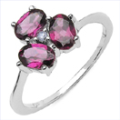 1.68CTW Genuine Rhodolite & Tanzanite .925 Sterling Silver Ring