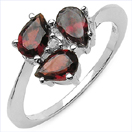 1.37CTW Garnet & White Diamond .925 Sterling Silver Ring