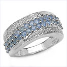 1.51CTW Genuine Blue Sapphire & Diamond .925 Sterling Silver Ring