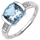1.78CTW Genuine Aquamarine & White Topaz .925 Sterling Silver Ring