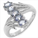 0.85CTW Genuine Tanzanite .925 Sterling Silver Ring