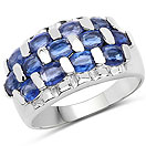 3.51CTW Genuine Kyanite .925 Sterling Silver Cluster Ring