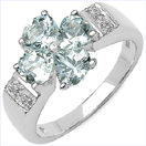 1.64CTW Genuine Aquamarine & White Topaz .925 Sterling Silver Ring