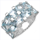 10.00CTW Genuine Blue Topaz .925 Sterling Silver Ring