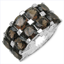 9.50CTW Genuine Smoky Topaz .925 Sterling Silver Ring