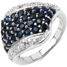 1.95CTW Genuine Blue Sapphire & White Topaz .925 Sterling Silver Cluster Ring