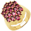 4.18CTW Genuine Rhodolite 14K Rose Gold Plated .925 Sterling Silver Cluster Ring